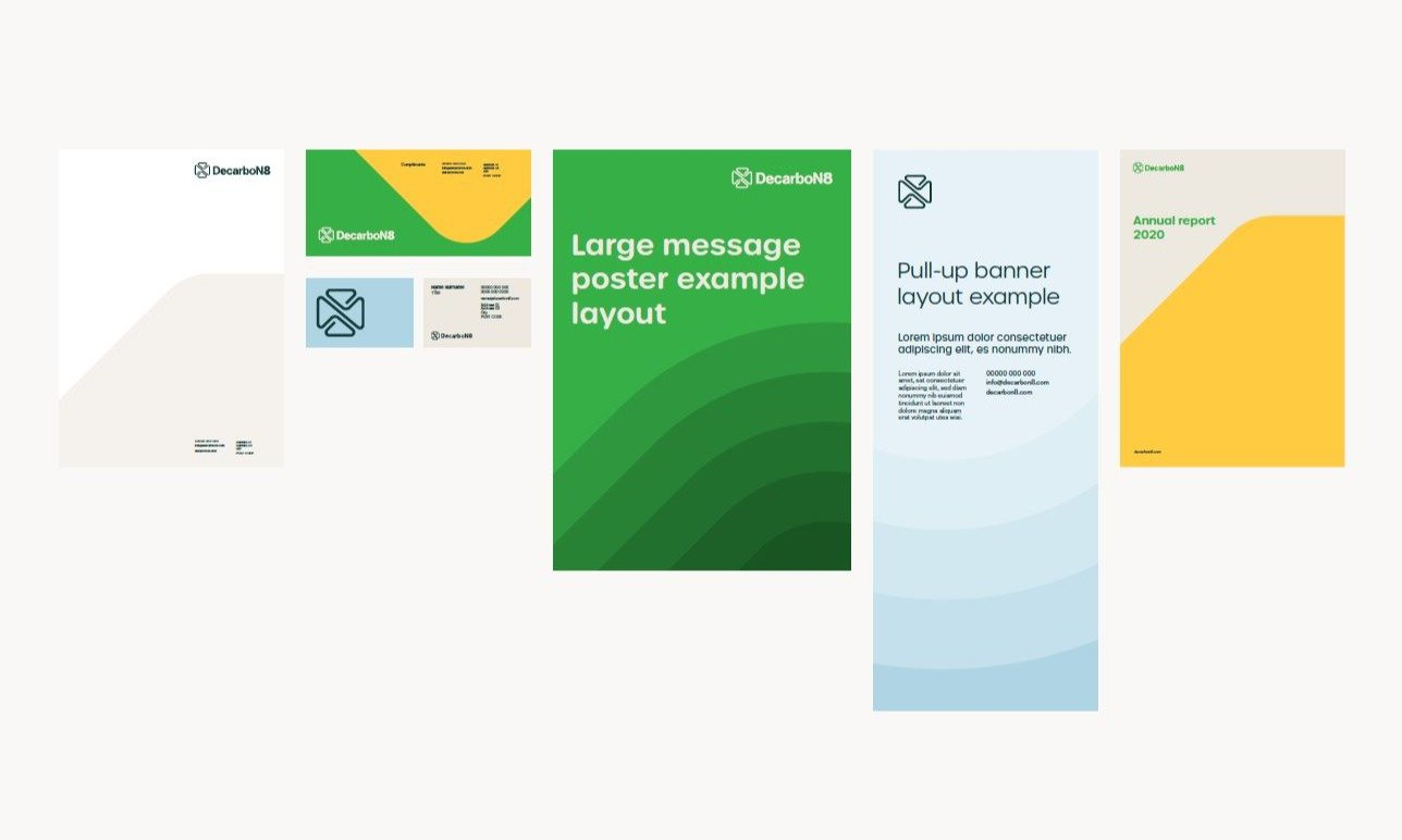 Decarbon8 stationery suite